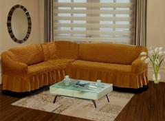 Чехол на угловой диван правый BULSAN 2+3 Горчичный арт.1798