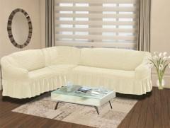 Чехол на угловой диван правый BULSAN 2+3 Кремовый арт.1798