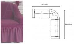Чехол на диван угловой BULSAN 2+3 левосторонний Лаванда