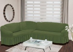 Чехол на диван угловой BULSAN 2+3 левосторонний Зеленый