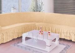 Чехол на угловой диван правый BULSAN 2+3 Натуральный арт.1798