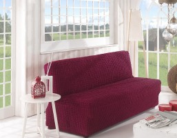 Чехол на диван без подлокотников 2м арт2649 бордо