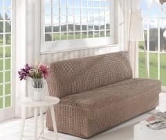 Чехол на диван без подлокотников 2м арт2649 кофе
