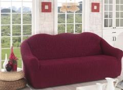 Чехол для дивана двухместный без юбки арт2651 бордо