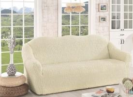 Чехол для дивана двухместный без юбки арт2651 крем