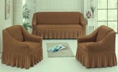 Набор чехлов диван и 2 кресла 3+1+1 Коричневый арт7565