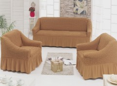 Набор чехлов диван и 2 кресла 3+1+1 Кофе с молоком арт7565