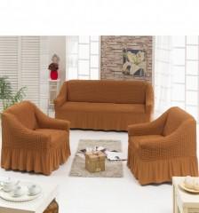 Набор чехлов диван и 2 кресла 3+1+1 Рыжий темный арт7565
