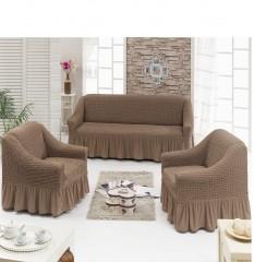 Набор чехлов диван и 2 кресла 3+1+1 Кофе арт7565