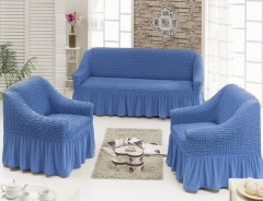 Набор чехлов диван и 2 кресла 3+1+1 Синий арт7565