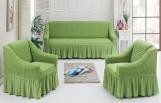 Чехлы универсальные на диван и 2 кресла Св зеленый 7565