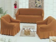 Набор чехлов диван и 2 кресла 3+1+1 темный Мед арт7565