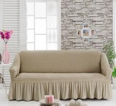 Чехол на диван 3-мест Молочный арт 8122м