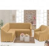 Чехол на угловой диван + Кресло DO&CO Медовый арт 8211м