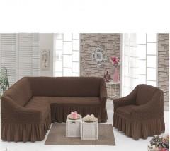 Чехол на угловой диван + Кресло DO&CO Шоколад арт 8211м