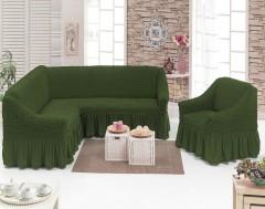 Чехол на угловой диван + Кресло DO&CO Оливковый арт 8211м