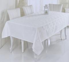 Скатерть VEROLLI жаккард ETAMIN JUMBO 160x220 Белая арт1863