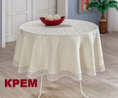 Скатерть с гипюром круглая EVDY KDK 160 см Крем арт868/1