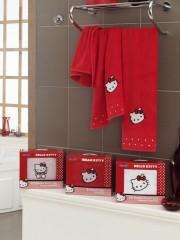 Набор полотенец детский хлопок Хэлло Китти красный 8290-02